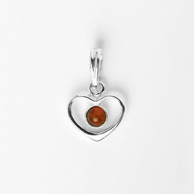 Simple Amber Heart Pendant