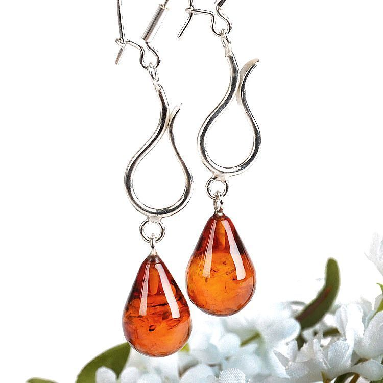 Honey Amber Teardrops Earrings