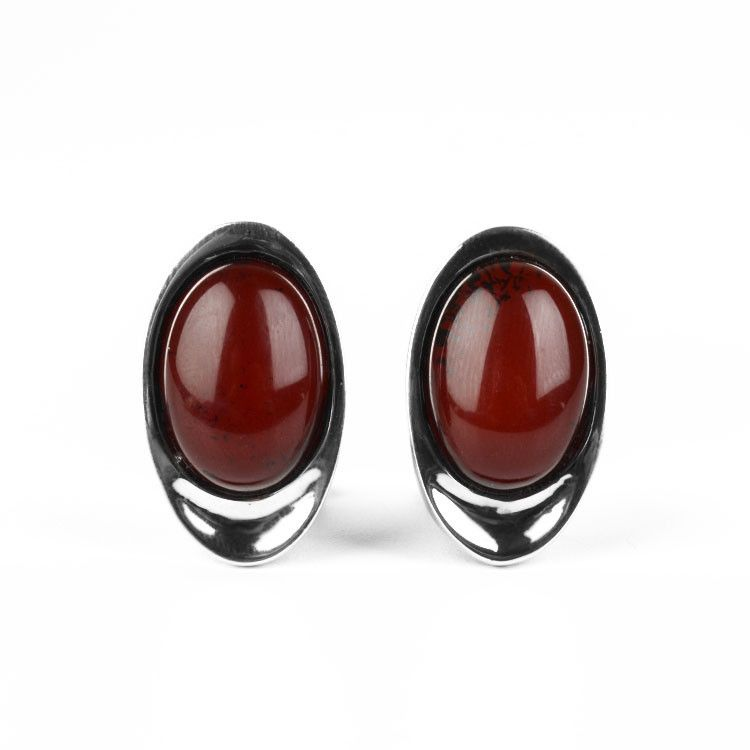 Clip On Cherry Amber Oval Earrings