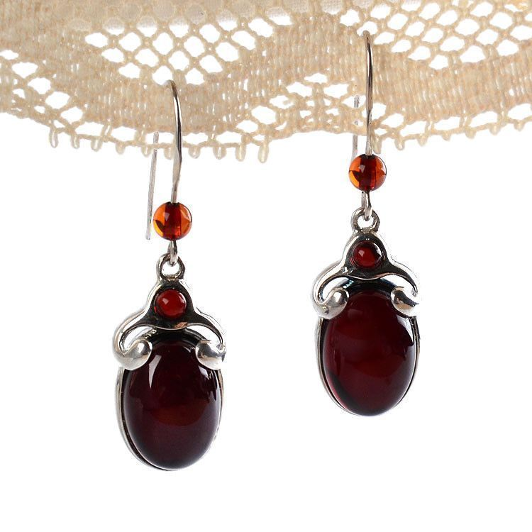 Embellished Oval Cherry Amber Earrings
