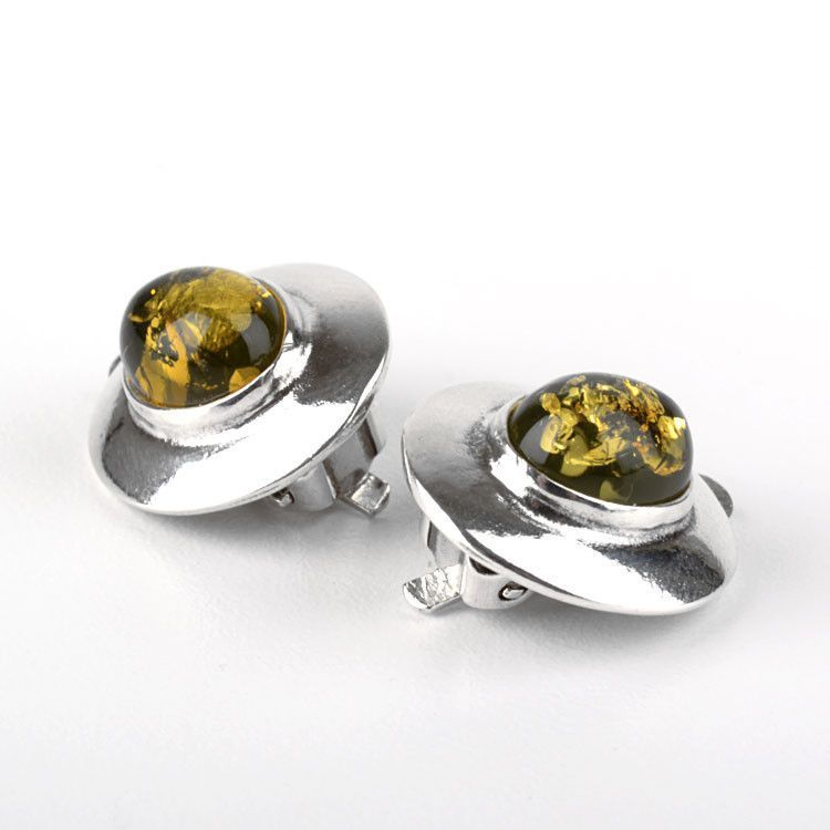 Genuine Green Amber Clip-On Earrings
