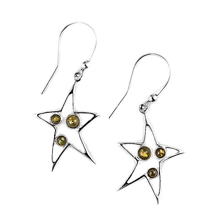 Green Amber Star Earrings