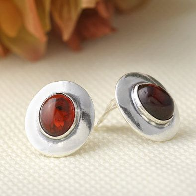 Antiqued Clip-on Cherry Amber Earrings