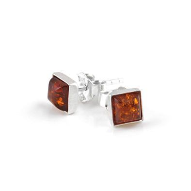 Tiny Squares Amber Stud Earrings