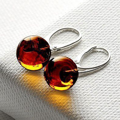Amber Honey Ball Earrings