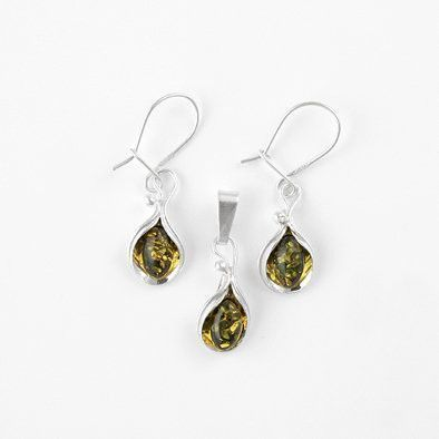 Green Amber Lily Earrings and Pendant Set