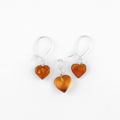 Amber Hearts Earrings and Pendant Set