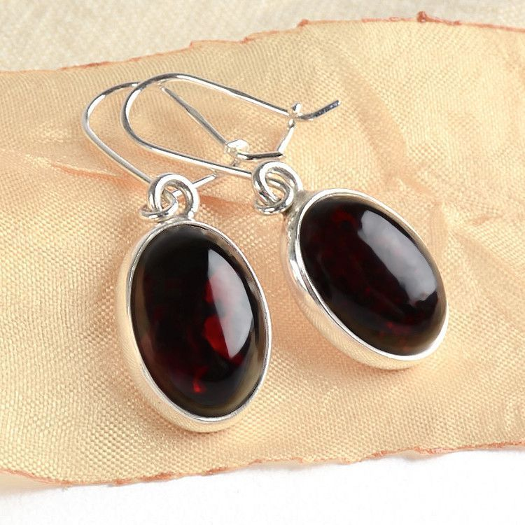 Simple Oval Cherry Amber Earrings