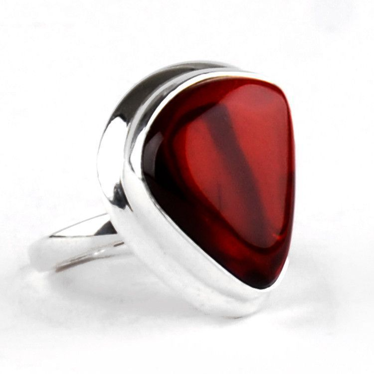 Trapezoid Cherry Amber Silver Ring