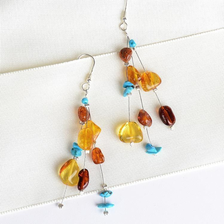 Amber and Turquoise Floating Earrings