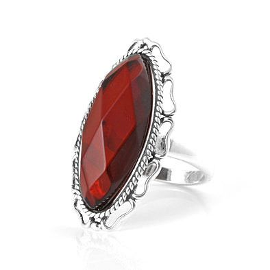 Faceted Amber Cherry Cocktail Ring