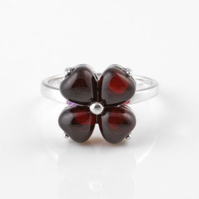 Cute Floral Cherry Amber Ring