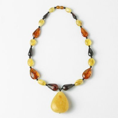 Multi-colored Amber with Butterscotch Pendant Necklace