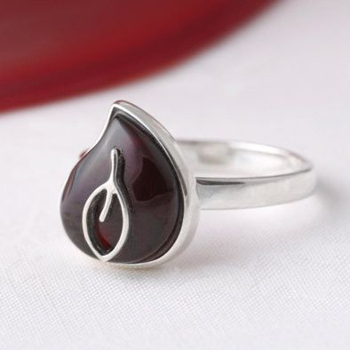 Cherry Amber Teardrop with Silver Leaf Ring
