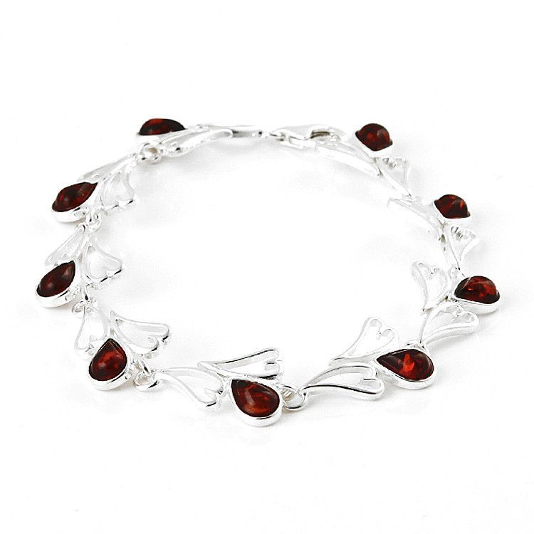 Chain of Hearts Honey Amber Bracelet