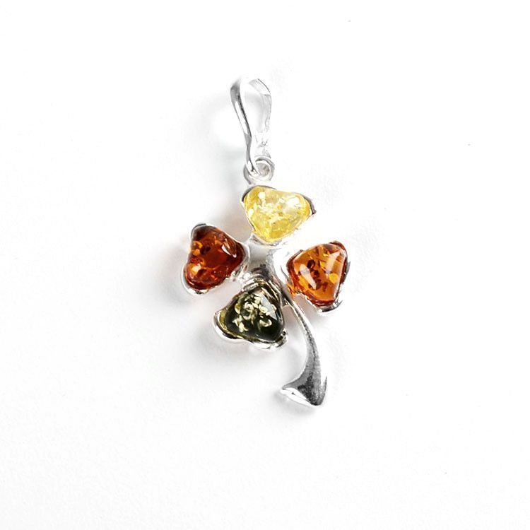 Lucky Multi-colored Amber Shamrock Pendant