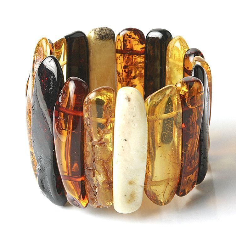 Giant Natural Multi-colored Amber Stretch Bracelet