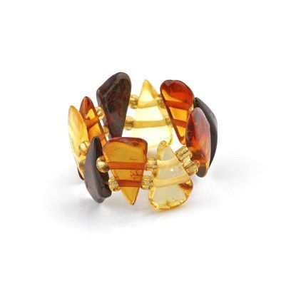 Multi-colored Amber Wedge Stretchy Ring
