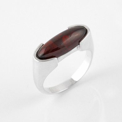 Elongated Cherry Amber Oval Ring