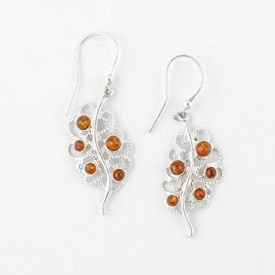 Honey Amber and Silver Leaf Earrings