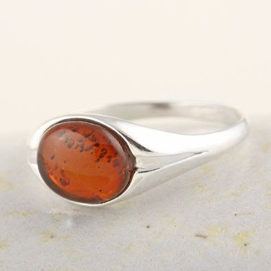 Eye of Honey Amber Ring