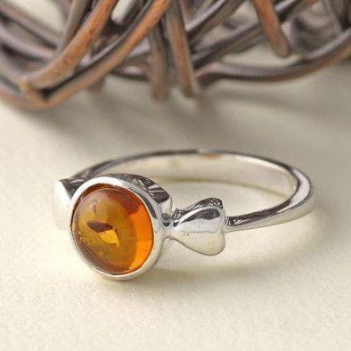 Cute Honey Amber and Hearts Ring
