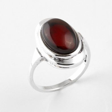Elegant Oval Cherry Amber Ring