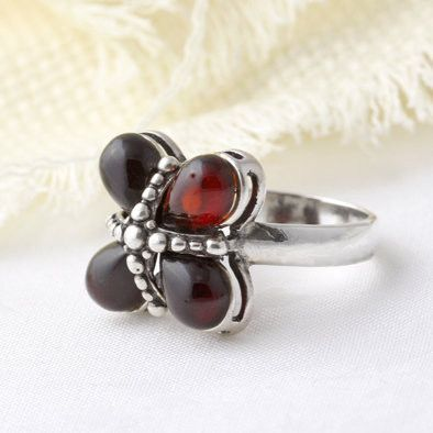 Cherry Amber Flower Ring