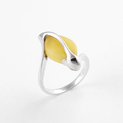 Amber and Silver Marquise Design Ring