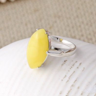Sunny Butterscotch Amber Marquise Ring