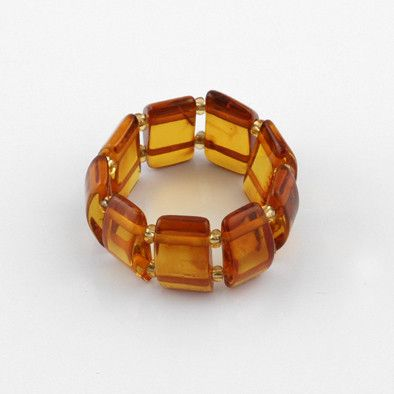 Honey Amber Stretch Barrel Ring