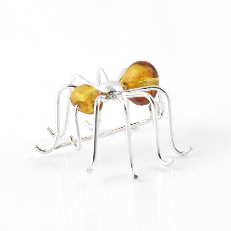 Cute Honey Amber Spider Pin