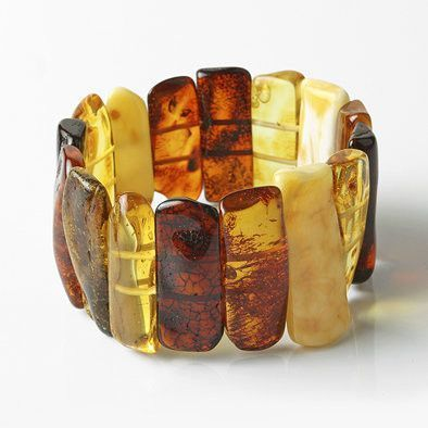 Giant Multi-colored Amber Stretch Bracelet