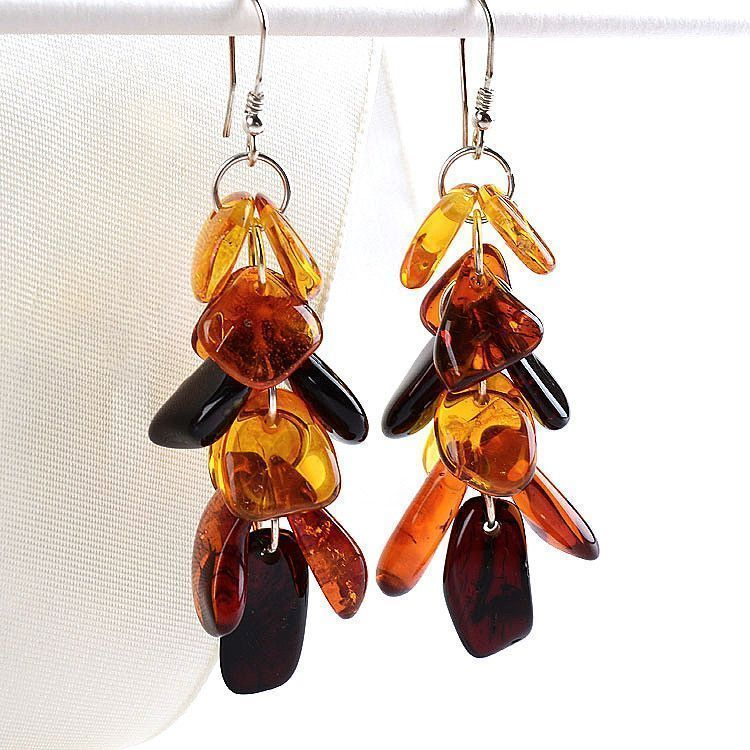Multi-colored Cluster Cascade Amber Earrings