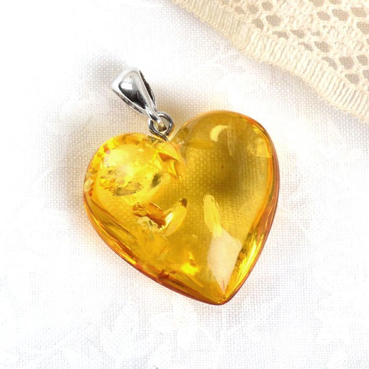 Sweet Citrine Honey Amber Heart Pendant