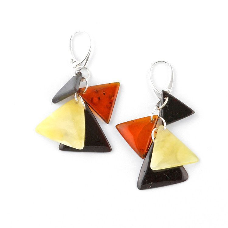 Multi-colored Triangle Amber Cluster Cascade Earrings