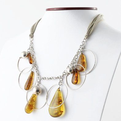 Amber & Silver Designer Necklace and Earrings Set