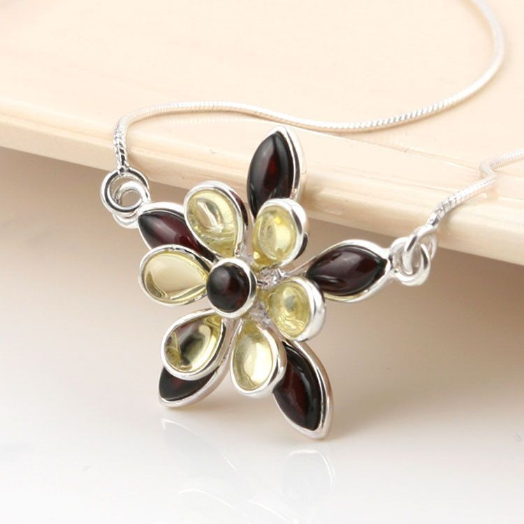 Elegant Amber Floral Necklace