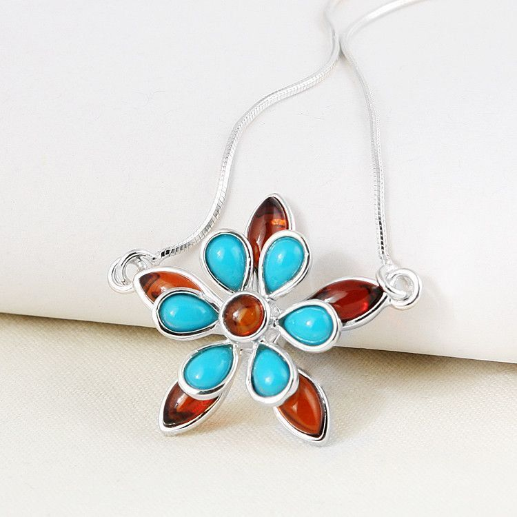 Amber and Turquoise Floral Necklace