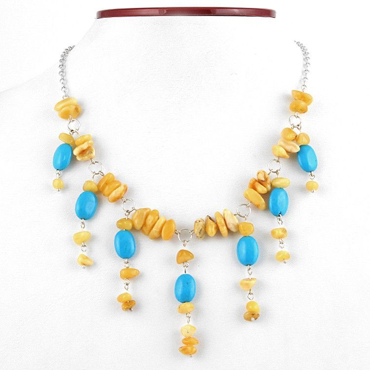 Turquoise & Butterscotch Amber Necklace