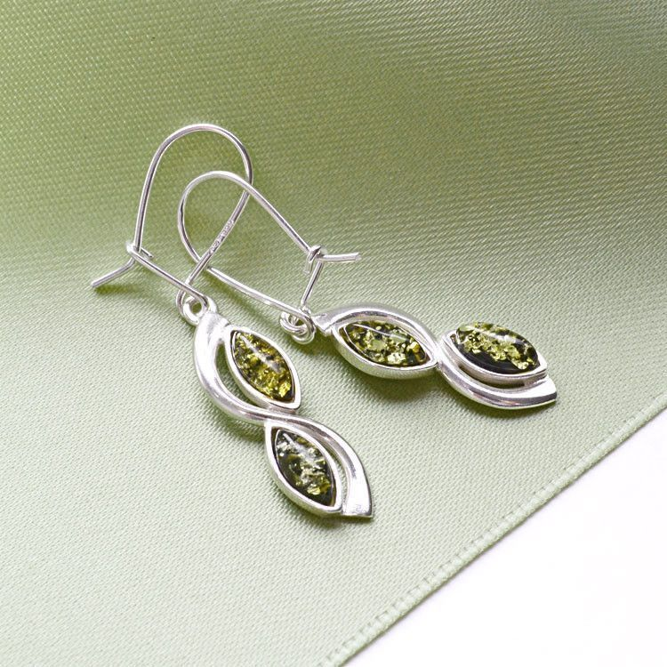 Green Amber With Silver Earrings