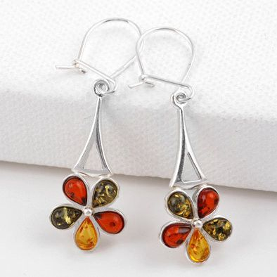 Colorful Amber Flower Earrings