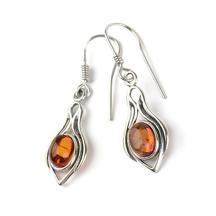Unique Silver and Honey Amber Earrings