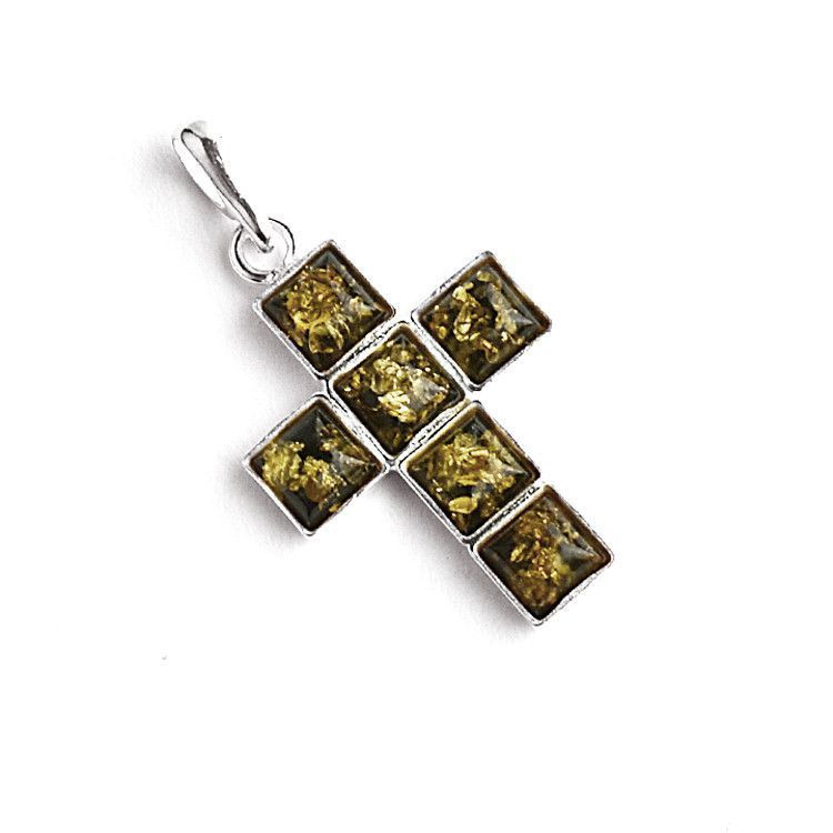 Unisex Green Amber Cross Pendant