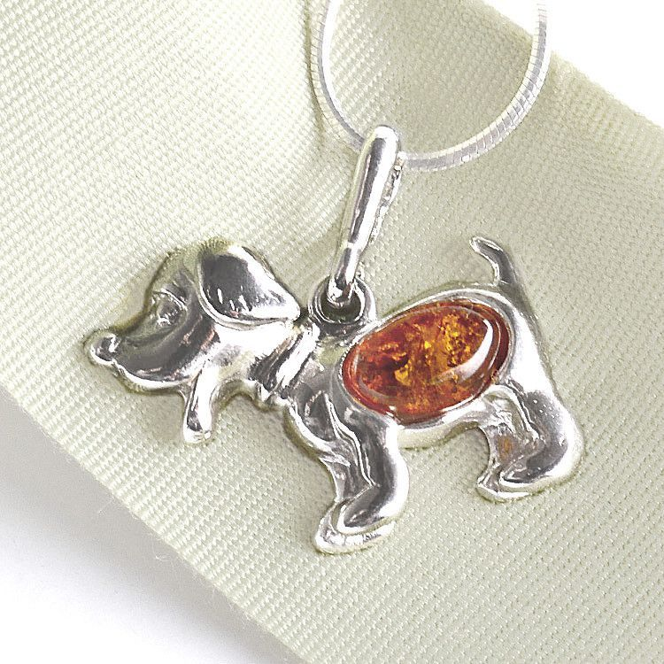 Honey Amber Dog Pendant