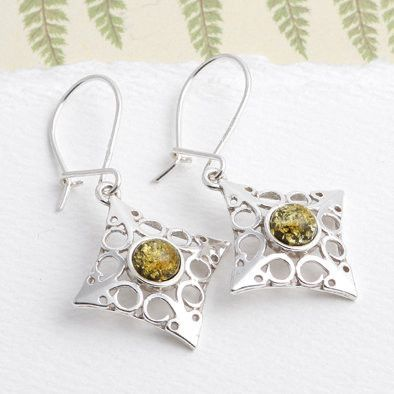 Diamond Shaped Silver and Green Amber Earrings