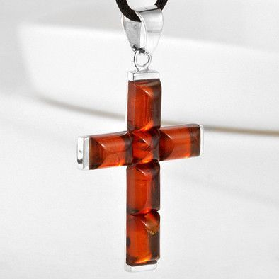 Honey Amber Unisex Cross Pendant