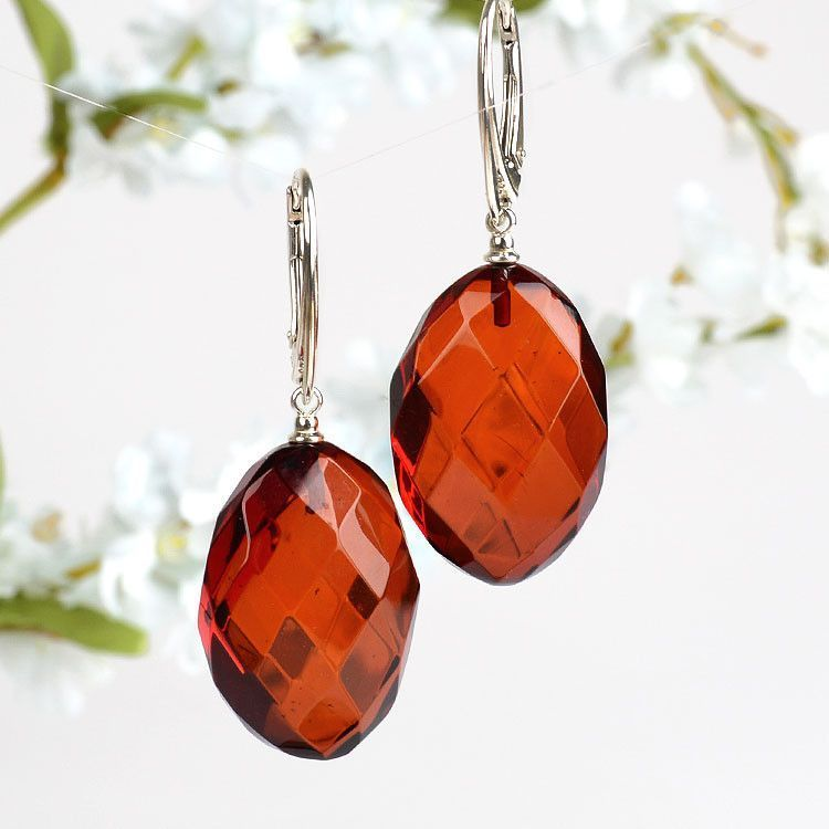 Faceted Oval Amber Earrings