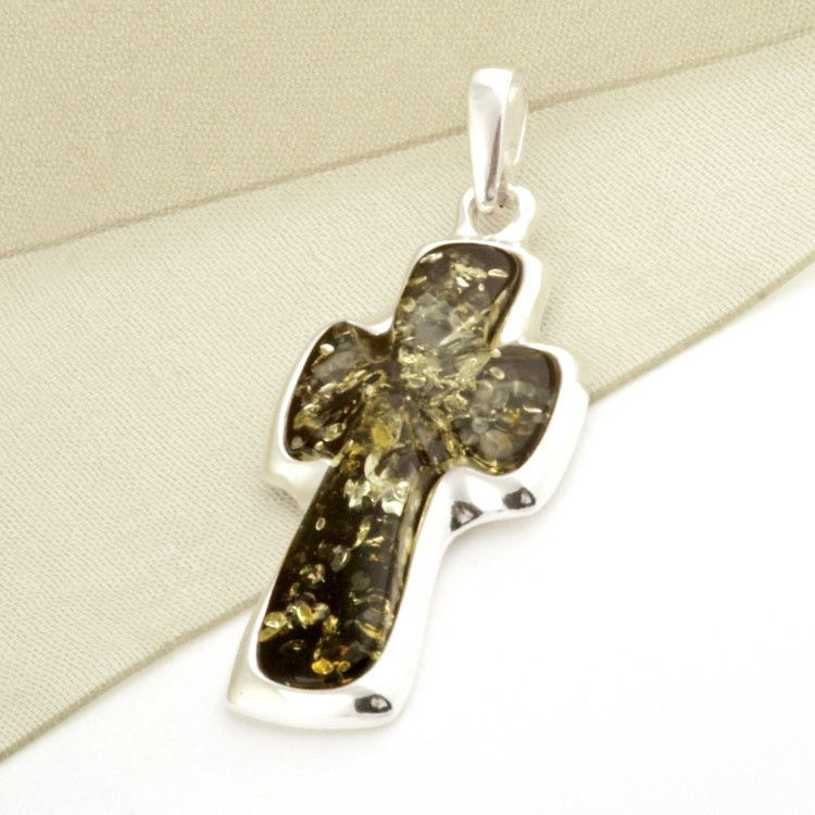 Green Unisex Amber Cross Pendant