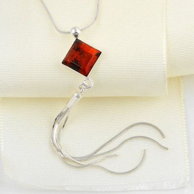 Diamond Shape Amber Pendant Necklace